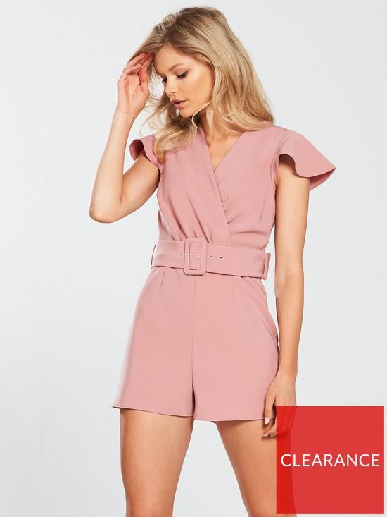 df532f668b065 Miss Selfridge Belted Playsuit - Pink | very.co.uk
