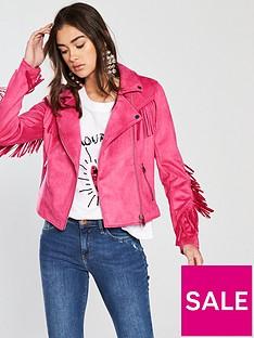 river-island-river-island-fringe-detail-biker-magenta-pink
