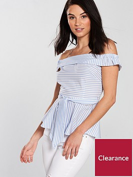 miss-selfridge-poplin-tie-front-bardot-top-printed
