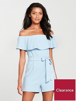 miss-selfridge-bardot-frill-playsuitnbsp--blue