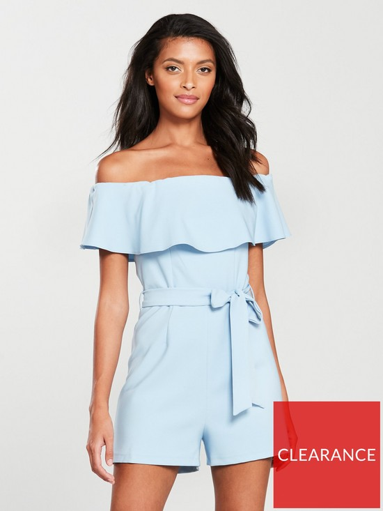 ba32dd92c09 Miss Selfridge Bardot Frill Playsuit - Blue