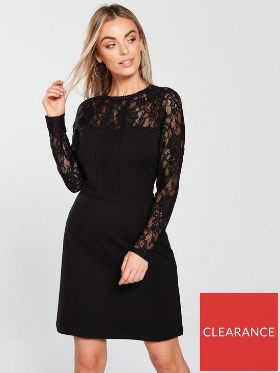V By Very Petite Lace Ponte Mix Dress Black Very