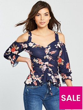 v-by-very-printed-ruched-front-cold-shoulder-top