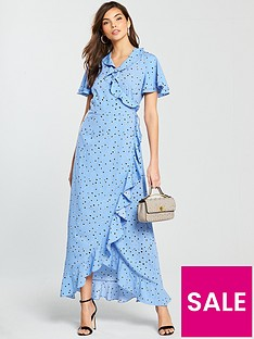 vero-moda-hanna-short-sleeve-printed-wrap-maxi-dress-blue