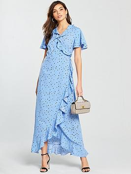 Vero Moda Hanna Short Sleeve Printed Wrap Maxi Dress - Blue