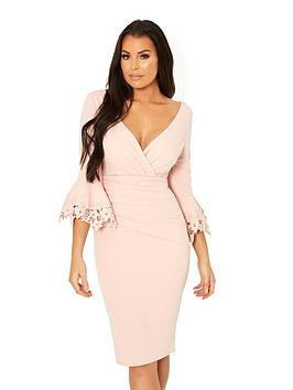 Jessica Wright Trixey Fluted Sleeve Ruched Front Bodycon Dress - Nude