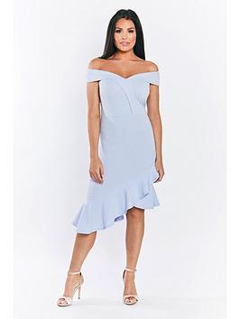 Jessica Wright Rona Bardot Dress With Asymmetrical Hem - Pale Blue