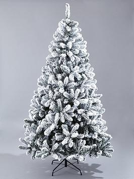 8Ft Flocked Emperor Christmas Tree With Metal Stand