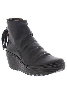 Fly London Fly Yama Tie Back Ankle Boot - Black