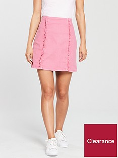 oasis-denim-ruffle-skirt-pink