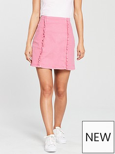 oasis-pink-denim-ruffle-skirt