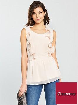 vila-saselina-sleeveless-peplum-top-with-ruffle-detail-peach-blush