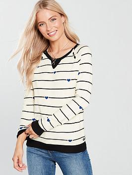 Maison Scotch Maison Scotch Crew Neck Stripe Button Detail Jumper