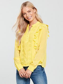Maison Scotch Embroidered Ruffle Blouse