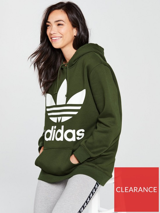 c6bc0f73be9b adidas Originals Boyfriend Trefoil Hoodie - Khaki