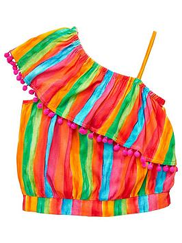v-by-very-girls-rainbow-stripe-one-shoulder-blouse