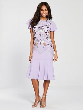 Frock And Frill Cap Sleeve Embellished Fluted Hem Dress - Lilac