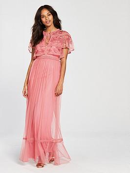 Frock And Frill Cape Detail Maxi Dress - Coral Pink