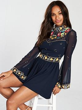 frock-and-frill-long-sleeve-embroiderednbspplaysuit-navy