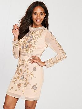 Frock And Frill Long Sleeve Embellished Shift Dress - Crystal Pink
