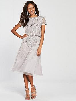 Frock And Frill Embellished Double Layer Midi Dress - Grey