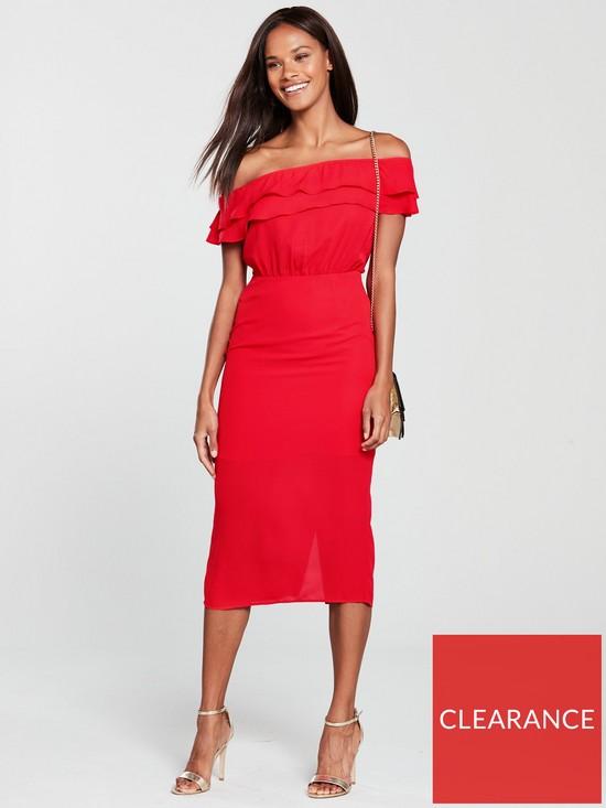 e155b3a8052 Oasis Bardot Column Midi Dress - Red