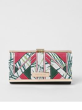 river-island-river-island-palm-cutabout-panel-clip-top-purse--green