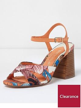 river-island-wide-fit-cross-strap-printed-sandal-orange