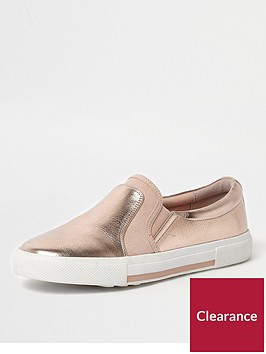 river-island-river-island-metallic-slip-on-plimsolls--rose-gold