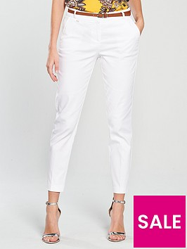 wallis-cotton-stretch-belted-cigarette-trouser-white