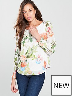wallis-shirred-cuff-blouse-ivoryfloral