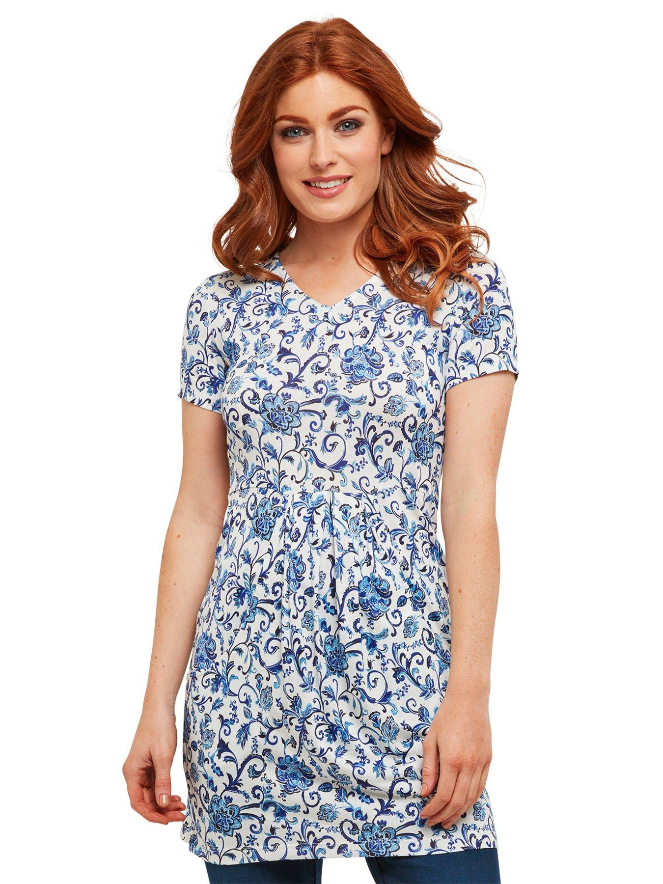 Joe Browns Delightful Floral Tunic - White/Blue