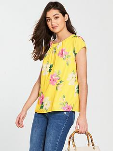 wallis-rose-printed-short-sleeve-top-lemonnbsp