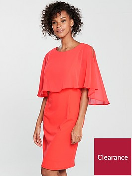 wallis-cape-back-dress-coral
