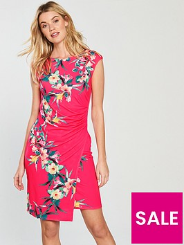 wallis-tropical-fern-ruched-side-wrap-dress-pink
