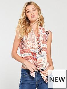 wallis-tribal-tie-front-top-cream-print