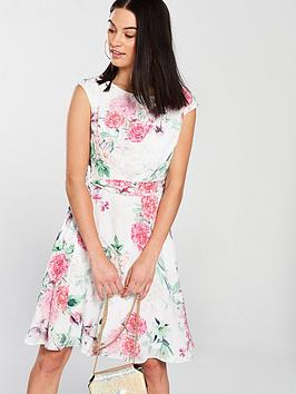 wallis-garden-floral-fit-amp-flare-dress-ivorynbsp
