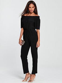 wallis-shirred-bardot-jumpsuit-blacknbsp