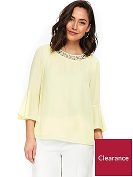 wallis-petite-crystal-trim-top-lemon