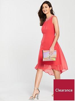 wallis-hotfix-neck-asymmetric-dress-coral