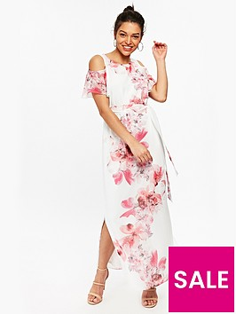wallis-petite-spray-flower-maxi-dress-white