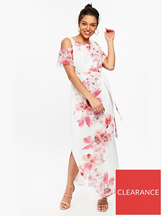 Wallis Petite Spray Flower Maxi Dress White Very