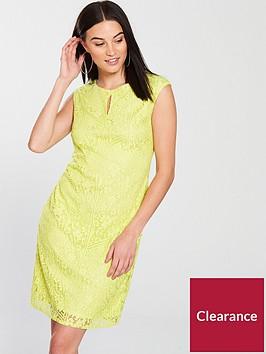 wallis-geometric-floral-lace-shift-dress-yellow