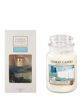 Yankee Candle Clean Cotton Large Jar Candle And Reed Diffuser Set thumbnail