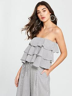 v-by-very-linen-ruffle-bardot-crop-top-stripe
