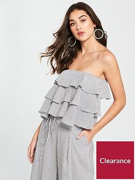 v-by-very-linen-ruffle-bardot-crop-top-stripe