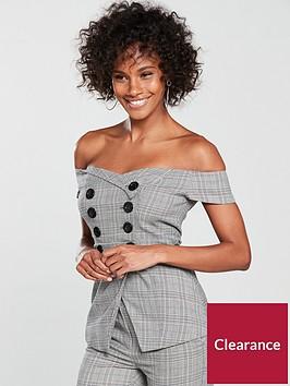 v-by-very-tailored-check-bardot-top-grey