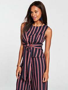 v-by-very-tie-front-shell-top-navy-stripe