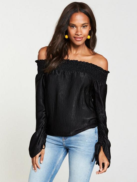 cf543fef5f4982 V by Very Ruched Sleeve Bardot Top - Black