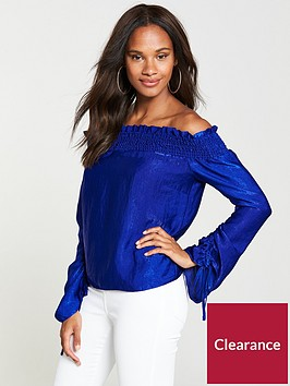 v-by-very-ruched-sleeve-bardot-top-bright-blue